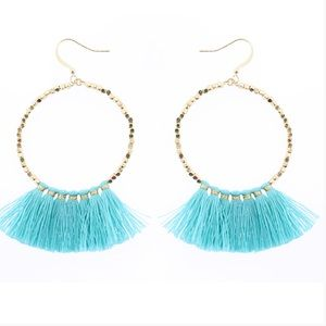 Jewelry - Teal Turquoise Hoop Fringe Gold Earrings